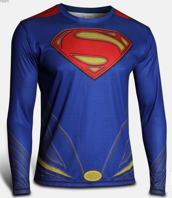 Marvel Super Heroes Avenger Batman sport T shirt Men Compression Armour Base Layer Long Sleeve Thermal Under Top Fitness XS-8XL - Clearlygeek - 7