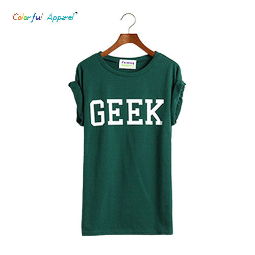Colorful Apparel Korean Trend Hem Roll-up Sleeve Of Random Hem Geek Loose Letter T-shirt For Women - Clearlygeek - 5