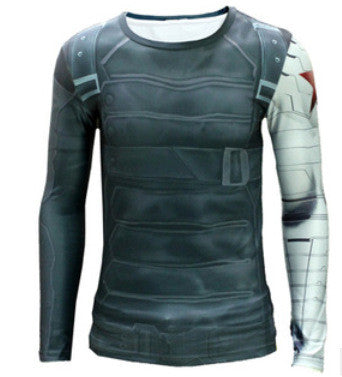 High Quality 2016 Marvel Captain America 2 Winter Soldier Costume 3d Super Hero Jersey Long Sleeves Sport Camisetas T Shirt Men - Clearlygeek - 9