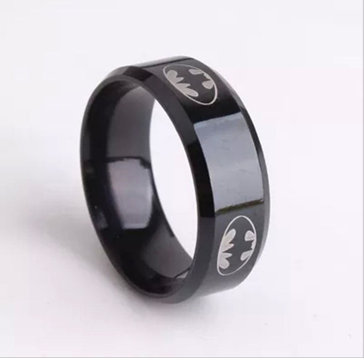 2015  Boys Men Black Batman Symbol Titanium Stainless Steel Rings For Men Women Party Free shipping - Clearlygeek