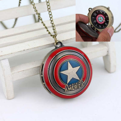 COOL!!!Captain America's Shield Superhero Logo Delicate Pocket Watch High Quality Gift To Family And Friends Movie Jewelry - Clearlygeek