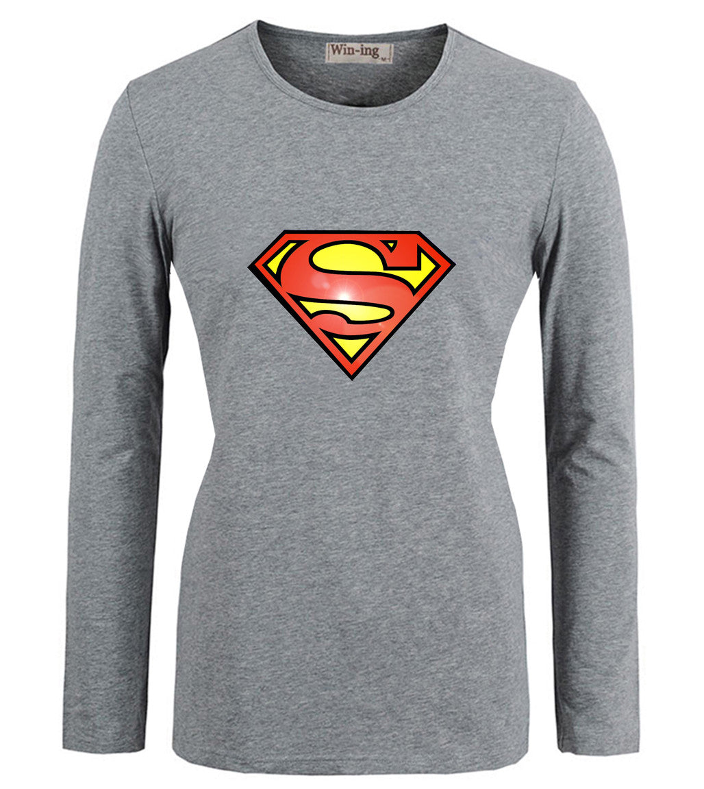 Casual America Super Hero Superman DC Kal-El Art Pattern Cotton T shirts Women's Girl's Long Sleeves Graphic T-shirt Tee Tops - Clearlygeek - 2