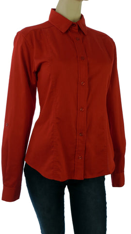 Athena Royal Red Button-Up Shirt