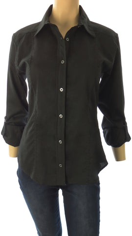 Athena Black Button-Up Shirt