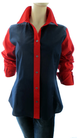 Primo Blue Red Button-Up Shirt