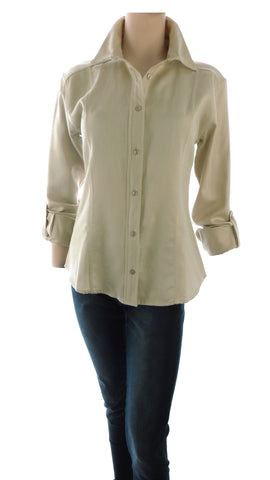 Athena Textured Beige Button-Up Shirt