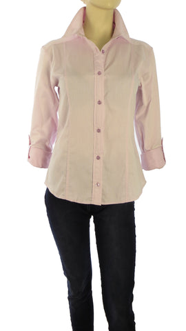 Athena Pinstripes Pink Button-Up Shirt