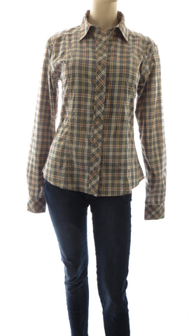 Athena Brown Plaid Button-Up Shirt
