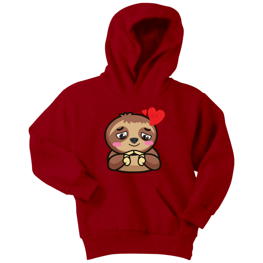 Sloth-Hearts-Love-Valentines-Gift-For-kid-Cute-Hoodie-Youth-Hoodie-Athletic-Heather-XS