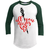 All-You-Need-Is-Love,-Valentine,-Valentine's-Day-Baseball-Sporty-Tee-Shirt-White/Black-XS-
