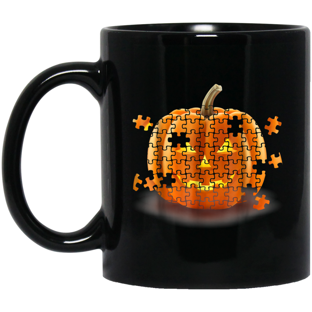 Autism Awareness Pumpkin Piece Puzzle Halloween Black mugs