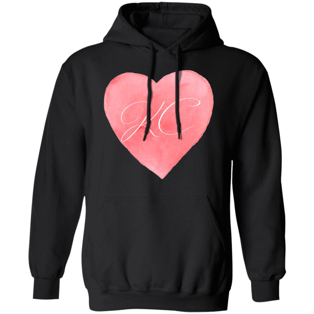 Womens Cute I Love Kansa? City Heart KC Football Pullover Hoodie