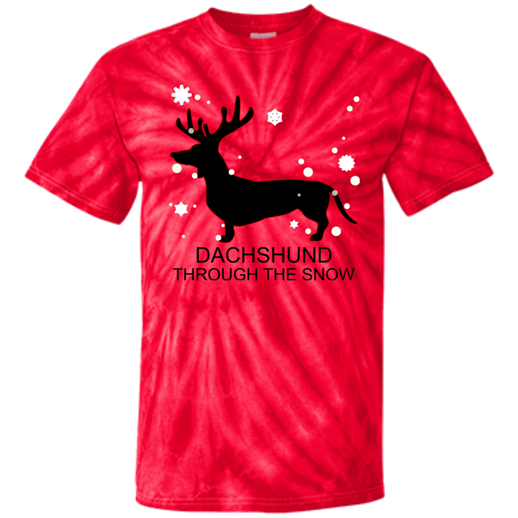 Dachshund-Through-The-Snow-Christmas-Youth-Tie-Dye-T-shirt-Spider-Red-YXS-