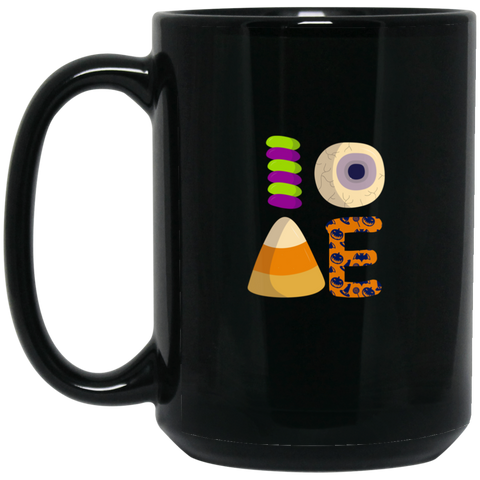 I Love Candy Halloween Treat Pumpkin Black mugs