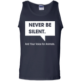 NEVER-BE-SILENT.And-Your-Voice-for-Animals.-100%-Cotton-Tank-Top-Black-S-