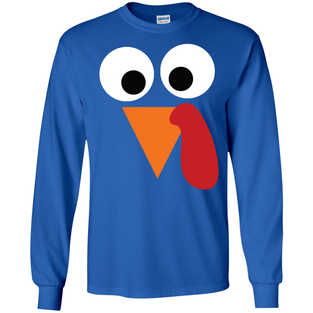 Turkey-Face-Funny,-Fun-Thanksgiving-Day-LS-Ultra-Cotton-Tshirt-Black-S-