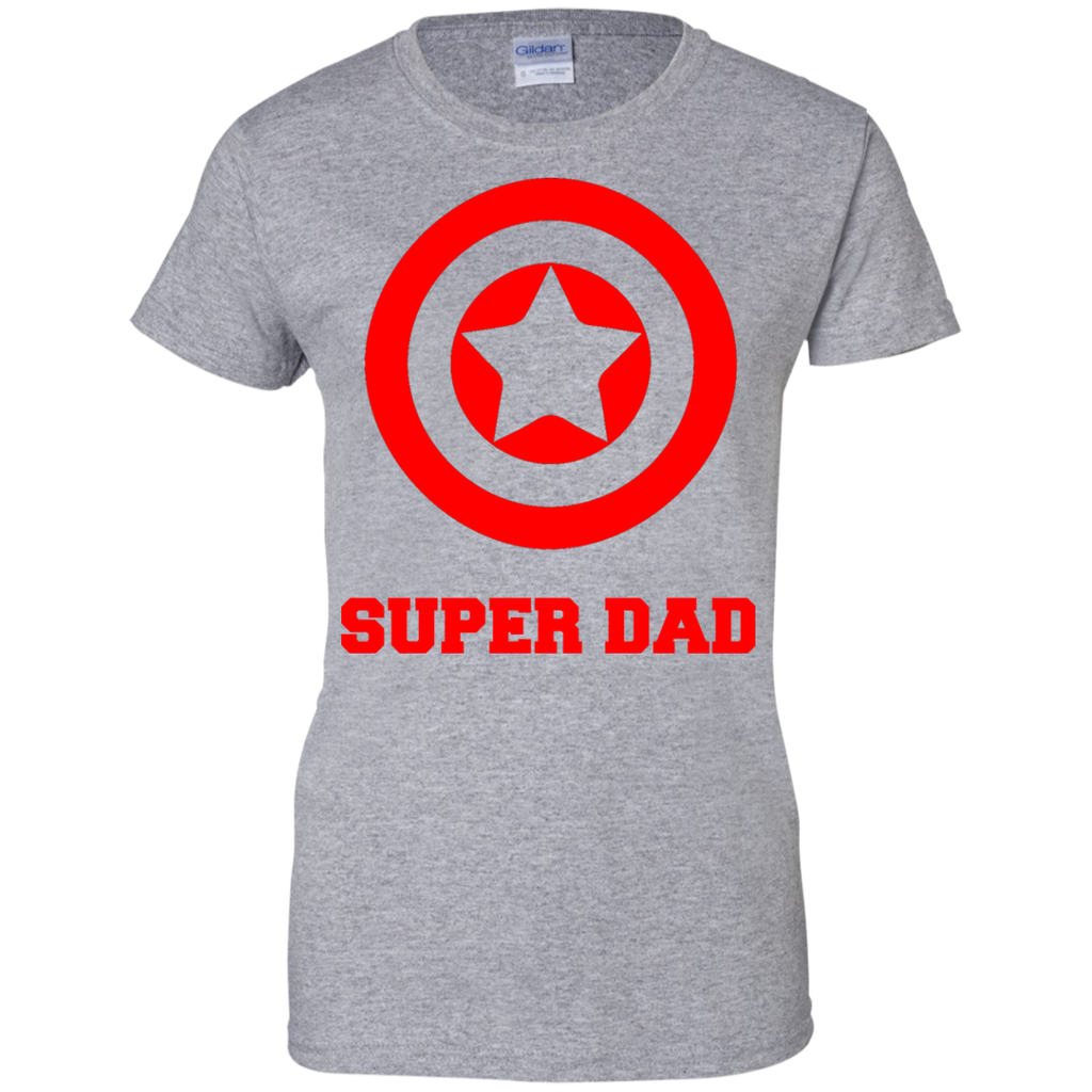 Super-Dad-Ladies-Custom-100%-Cotton-T-Shirt-Sport-Grey-XS-