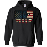 Jeep Lover - American Flag with Jeep Grille Pullover Hoodie 8 oz