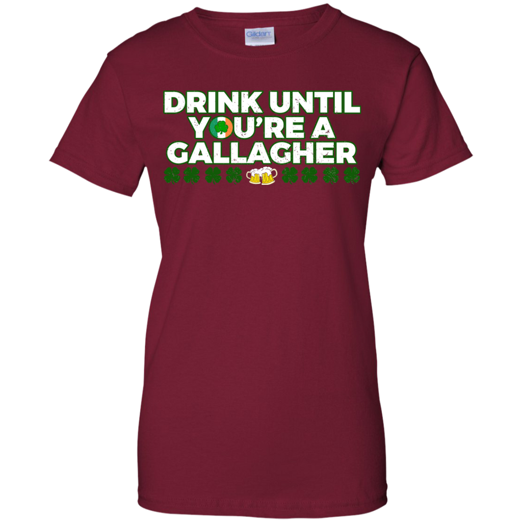 Drink-until-you're-a-Gallagher-Patrick's-Day---Men/Women-T-Shirt-Custom-Ultra-Cotton-T-Shirt-Black-S