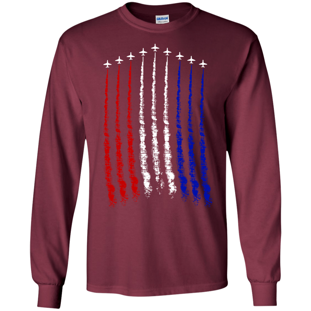 Red-White-Blue-Air-Force-Flyover-LS-T-Shirt-Black-S-