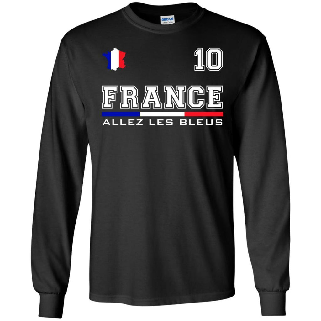 new styles 268be 75452 France Soccer Jersey 2018 World Football Cup Shirt Flag Gift LS T-Shirt
