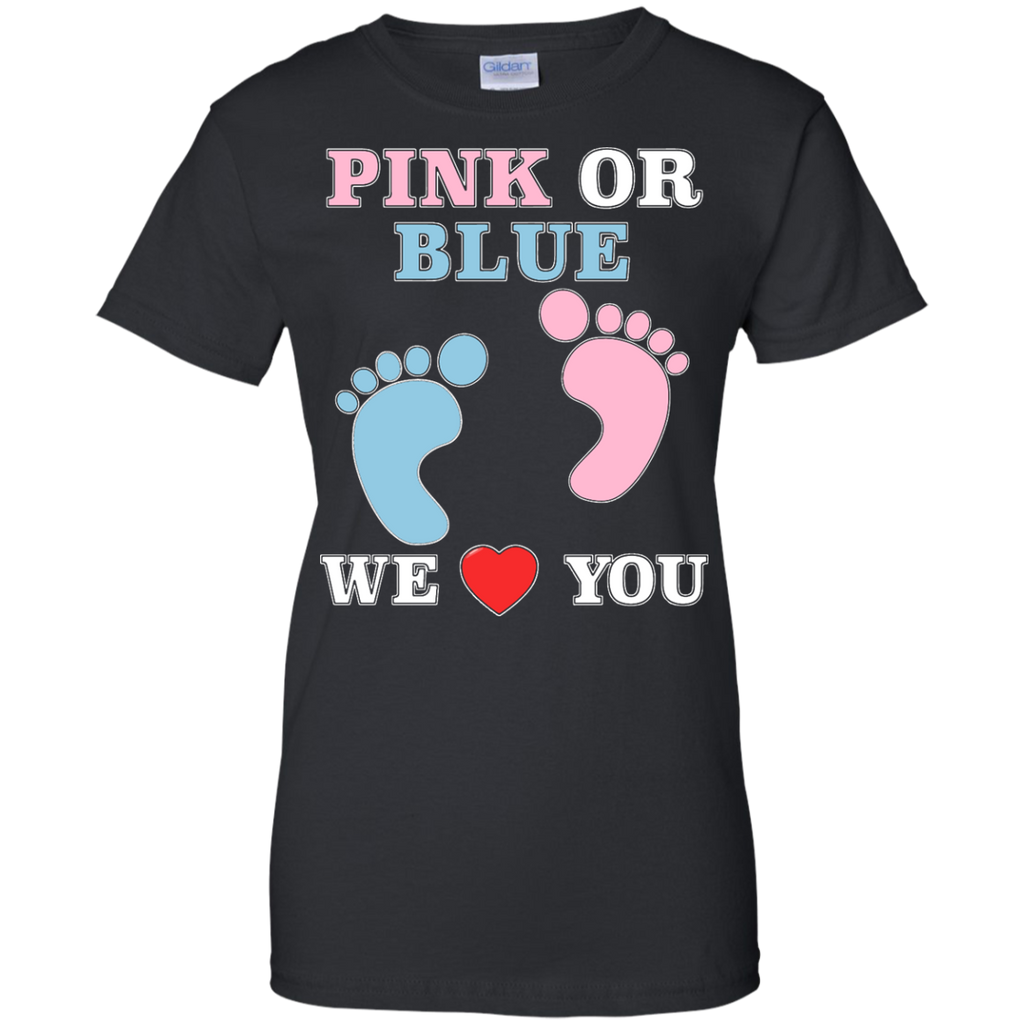 21f7373851af4 Pink Or Blue We Love You Heart Baby Shower Gender Reveal Ladies T ...