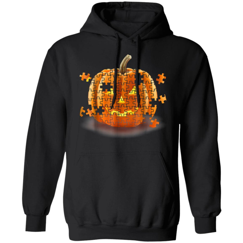 Autism Awareness Pumpkin Piece Puzzle Halloween Pullover Hoodie