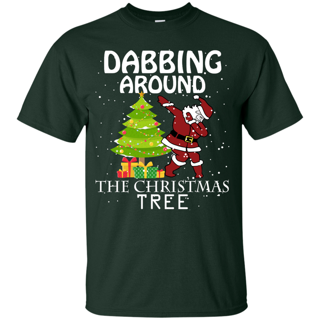 Cute-Dabbing-Around-The-Christmas-Tree-Santa-Swag-Youth-Tee-Black-YXS-