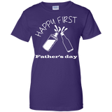 happy-first-father's-day-Ladies-Custom-100%-Cotton-T-Shirt-Black-XS-