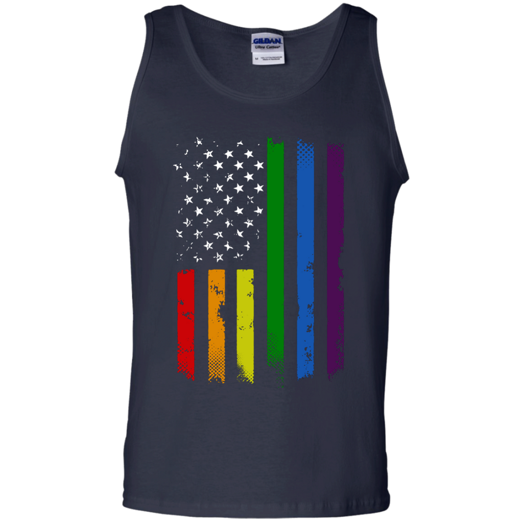 Gay-Pride-Flag---Rainbow-American-Flag-Tank-Top-Black-S-