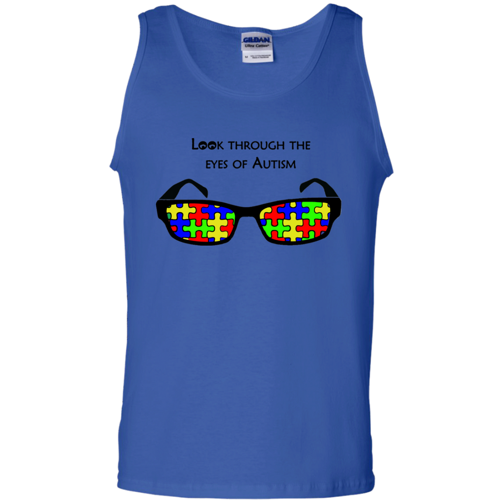 Look-Through-The-Eyes-Of-Autism---tank-top,-women's-tank-top-100%-Cotton-Tank-Top-Ash-S