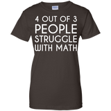 4-out-of-3-people-truggle-with-math-Ladies-Custom-100%-Cotton-T-Shirt-Black-XS-