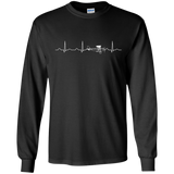 Airplane Pilot Heartbeat - Funny Cute Flying Gift LS Tshirt - Teeever.com