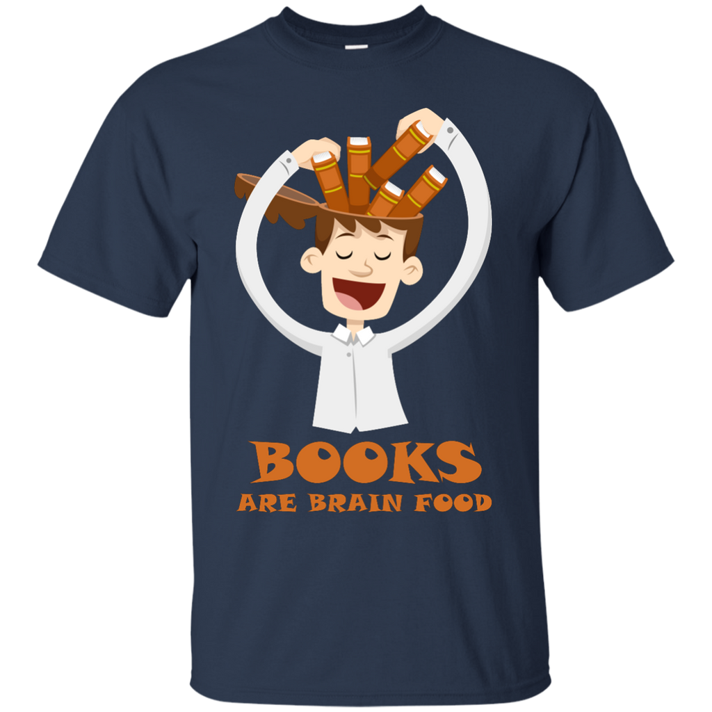 Read-Because-Books-are-Brain-Food-Reading-Rocks-Literary-Tee---funny---Men/Women-T-Shirt-Custom-Ultra-Cotton-T-Shirt-Black-S