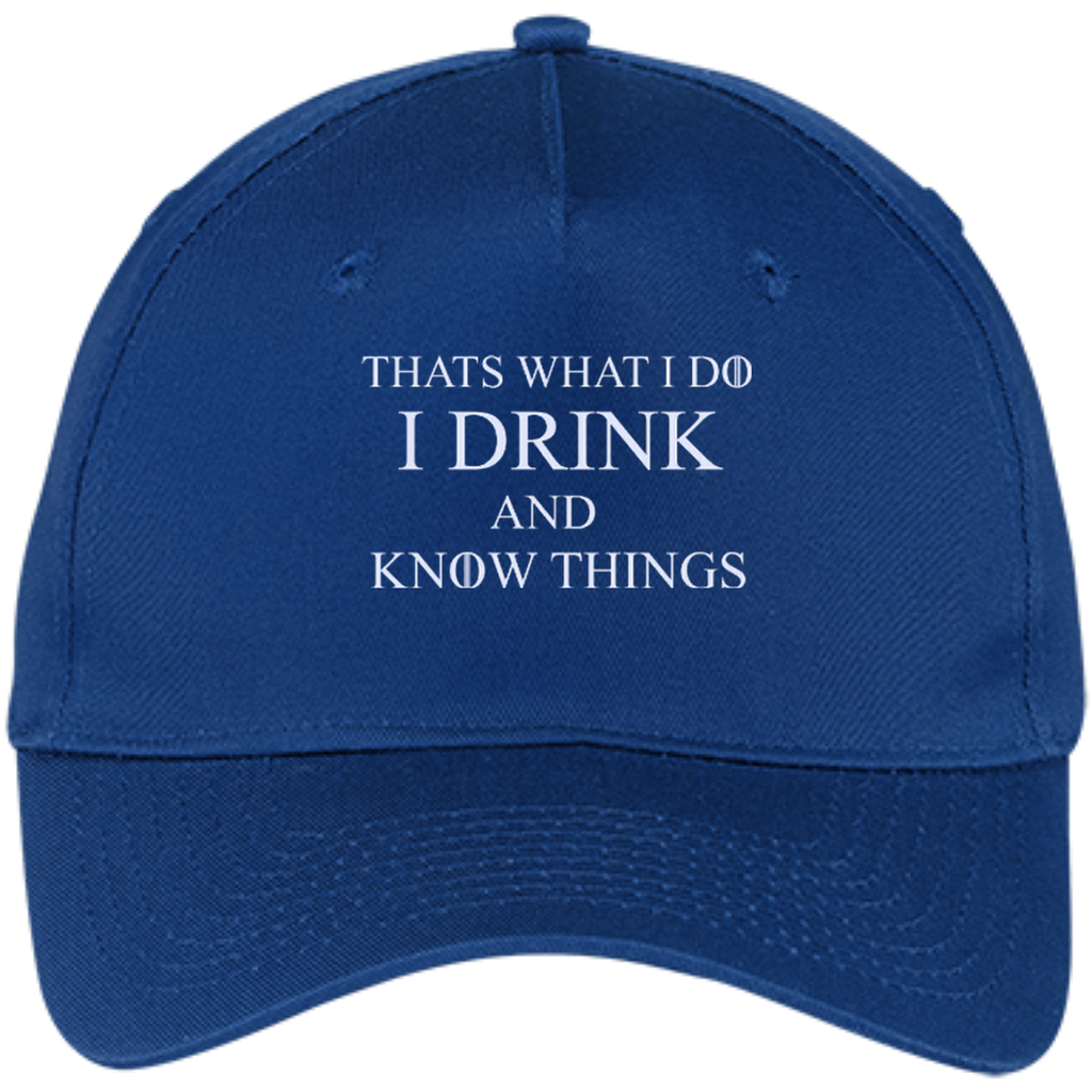 Thats-what-I-do-I-drink-and-know-things---Five-Panel-Twill-Cap-Red-One-Size-