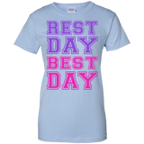 REST-DAY-BEST-DAY-Ladies-Custom-100%-Cotton-T-Shirt-Sport-Grey-XS-
