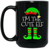 I'm-The-Cute-Elf-Matching-Family-Group-Christmas-Black-mugs-BM11OZ-11-oz.-Black-Mug-Black-One-Size