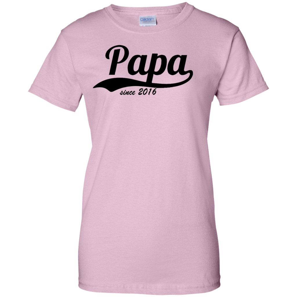 Papa-since-2016-Ladies-Custom-100%-Cotton-T-Shirt-Sport-Grey-XS-