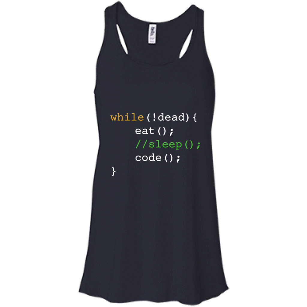 Funny-Computer-Science-Programmer-Eat-Sleep-Code-Men/Women-Tank-top-B8800-Bella-+-Canvas-Flowy-Racerback-Tank-Black-X-Small