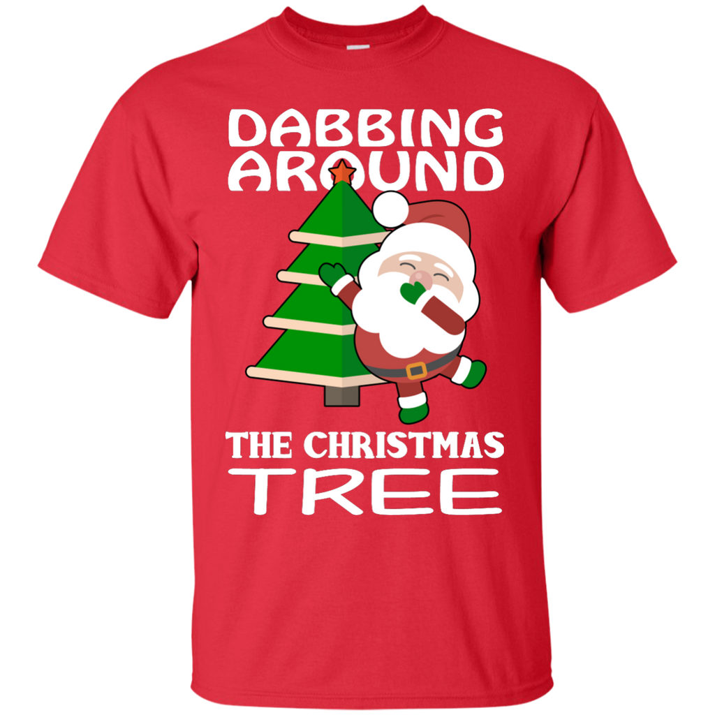 Dabbing-Around-Christmas-Tree-Funny-T-Shirt-Black-S-