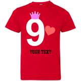 9th-Birthday-Youth-Jersey-Tee---Best-Gift-for-girl-Red-YXS-