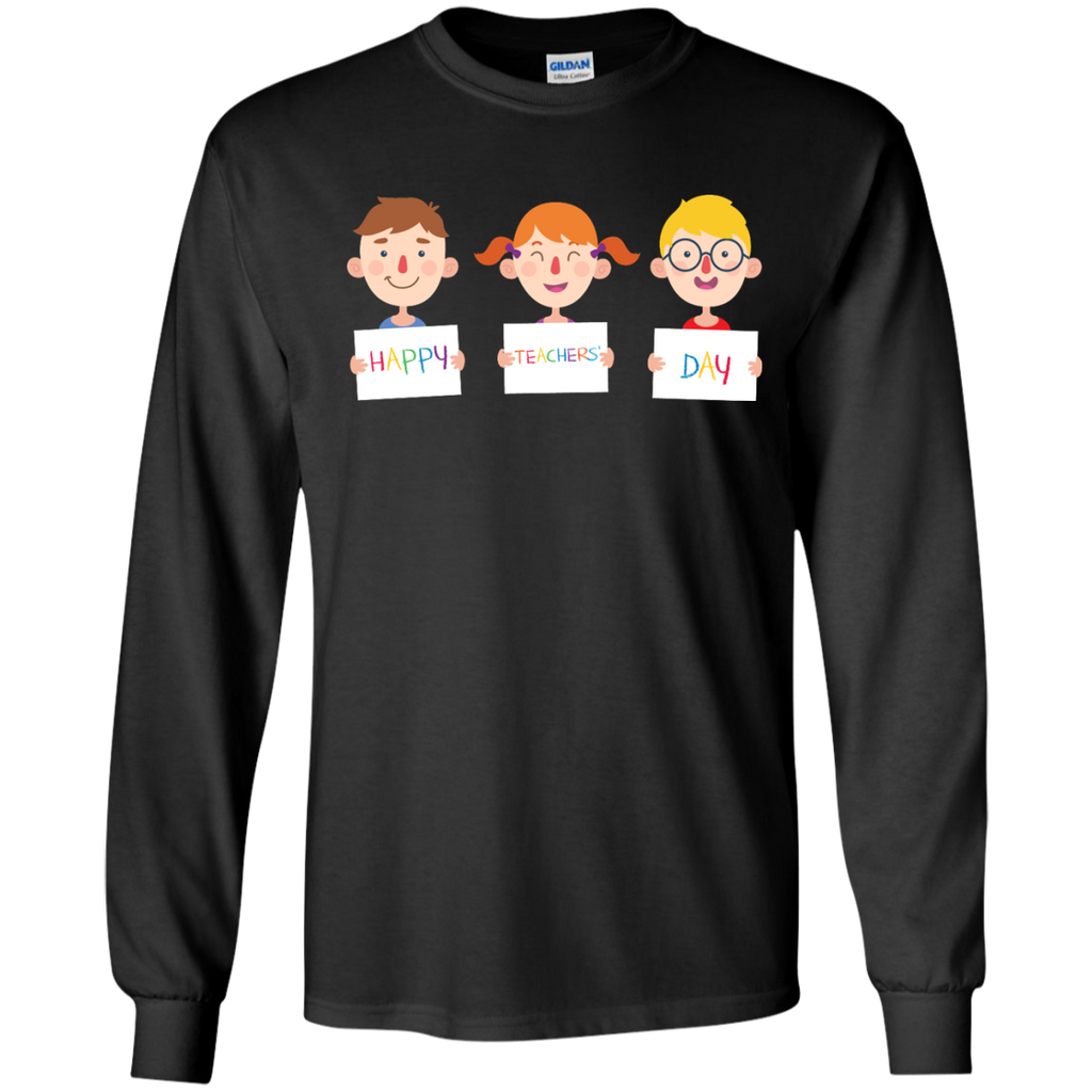 Smiling-students-holding-posters-for-the-teacher's-day---LS-shirt,-Sweatshirt,-Hoodie-LS-Ultra-Cotton-Tshirt-Black-S