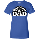 Baseball-Dad-Ladies-Custom-100%-Cotton-T-Shirt-Black-XS-
