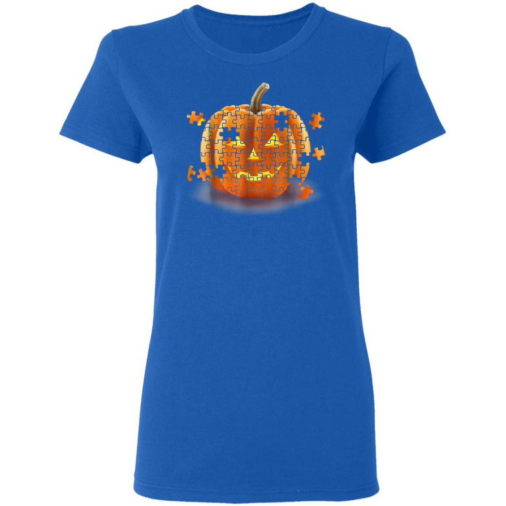 Autism Awareness Pumpkin Piece Puzzle Halloween Gildan Ladies' T-Shirt