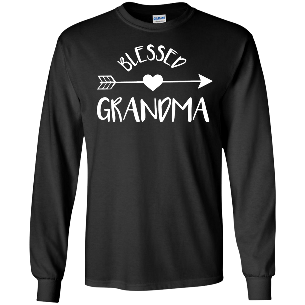 Blessed-Grandma-Shirt-Cute-Tribal-Arrow-and-Heart-Gran-Gift-LS-Tshirt---Teeever.com-Black-S-