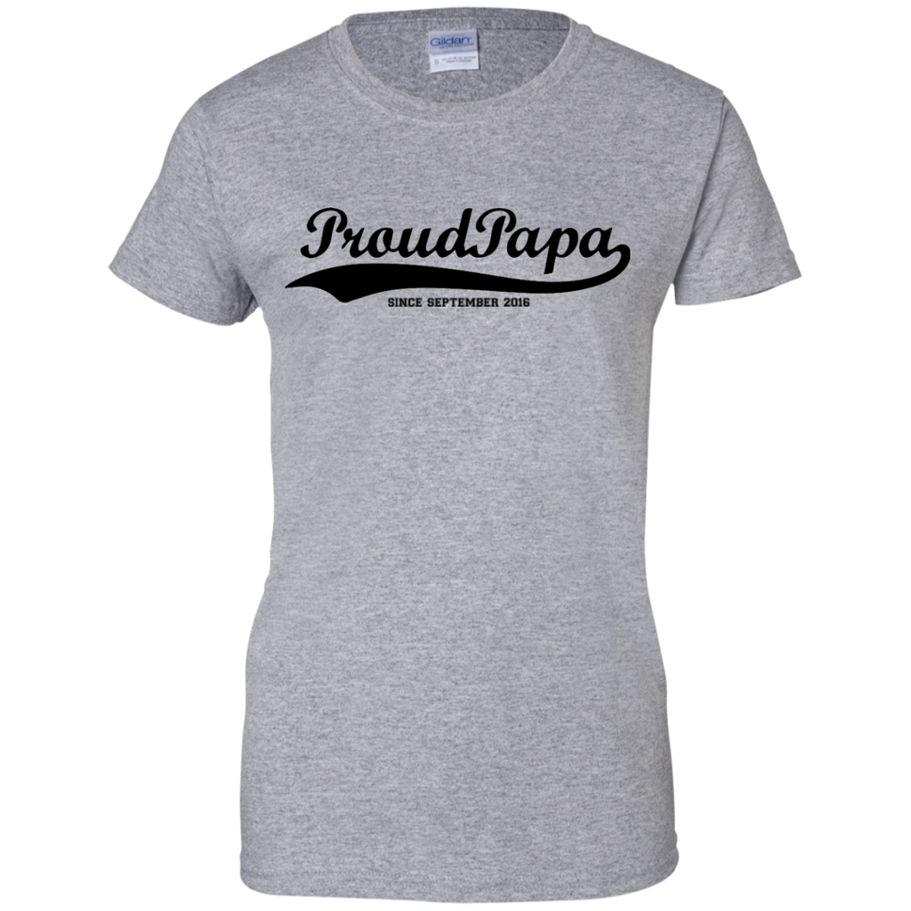 Proud-Papa-Ladies-Custom-100%-Cotton-T-Shirt-Sport-Grey-XS-