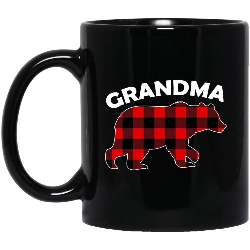 Red-Plaid-Grandma-Bear-Buffalo-Matching-Family-Pajama-Black-mugs-BM11OZ-11-oz.-Black-Mug-Black-One-Size