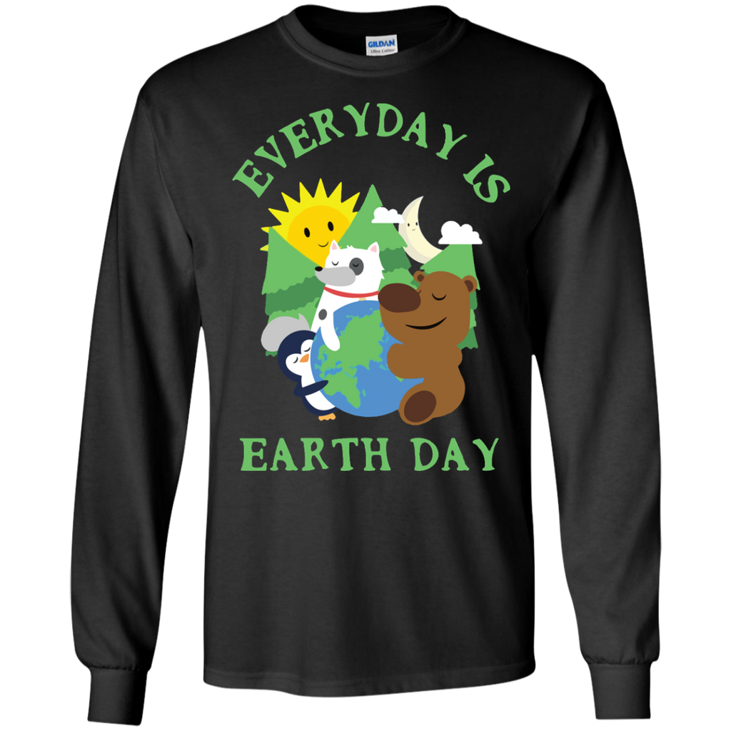CUTE-EVERYDAY-IS-EARTH-DAY---Love-Animal-Earth-Gift-LS-Tshirt---Teeever.com-Black-S-