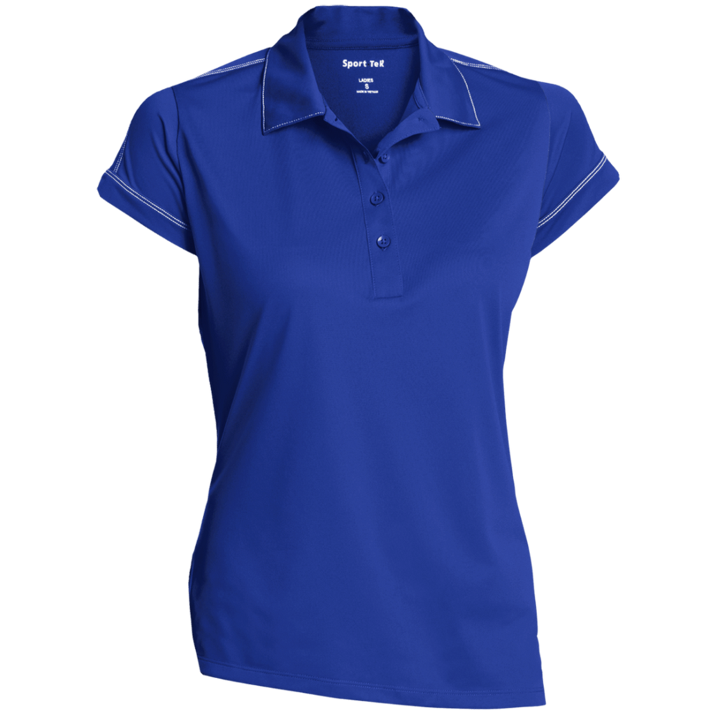 [TeeEver]-Ladies-Contrast-Stitch-Performance-Polo---No-Prints-P-White-S-