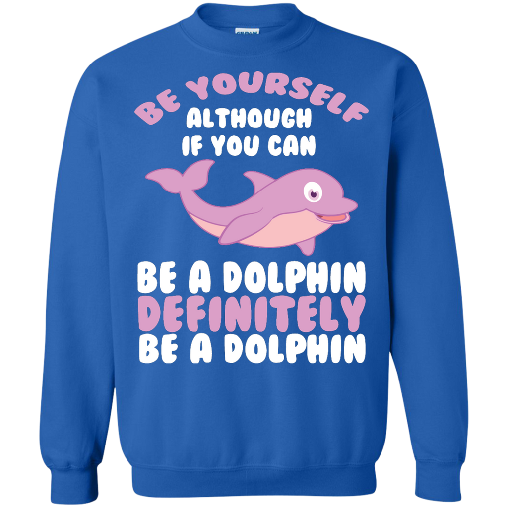 CUTE-BE-YOURSELF-DOLPHIN---Funny-Sea-Animal-Zoo-Gift-Pullover-Sweatshirt---Teeever.com-Black-S-